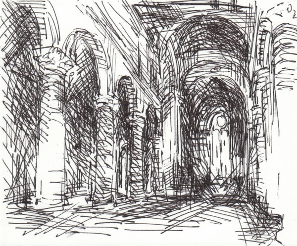 Orvieto Duomo Ink Drawing Matted To 8x10 Art   Michelle Arnold Paine Fine Art