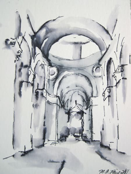 St. Peter's Basilica Rome Pen And Ink Wash Drawing  Art | Michelle Arnold Paine Fine Art