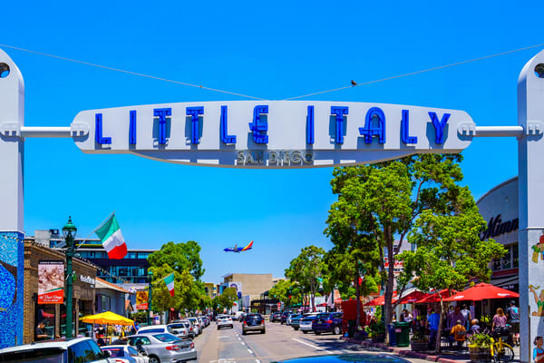 Little Italy Sign With Plane 1 Of 1 Art | McClean Photography