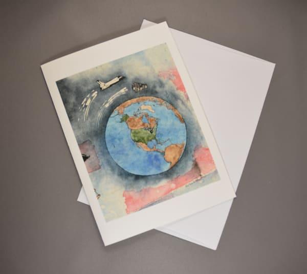 John Glenn First American to Orbit the Earth - Fine Art Card     June Bell Artist