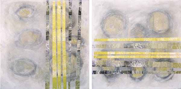 Threaded Lines (Diptych) - Original Abstract Painting | Cynthia Coldren Fine Art
