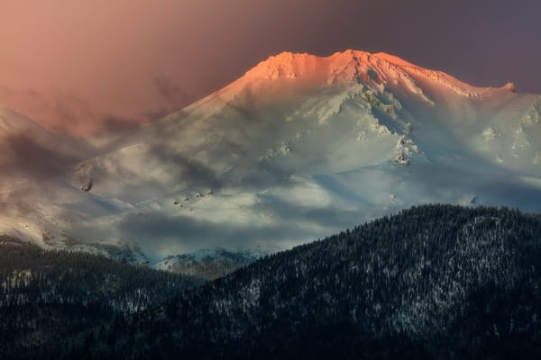 Northern California's Mt. Shasta is the crown jewel of the state, her top glowing like a crown.