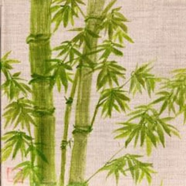 Green Bamboo On Linen Art | donnadacuti