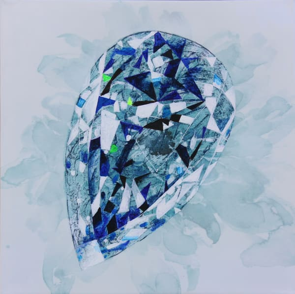 'Gabija' Cross Cut Pear Sapphire Art | Cool Art House - online art gallery with hip emerging artists. Collect cool art you can view on your own wall before you invest!