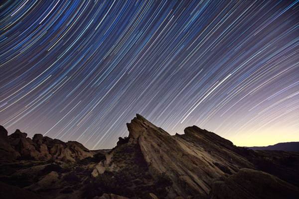 Stars Trailing Over Vasquez Rocks Photography Art | Chad Wanstreet Inc
