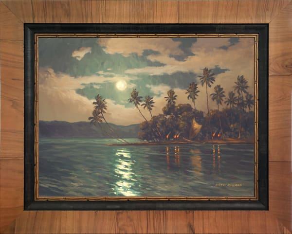Hawaiian Moon Framed In Stock Olive Wood