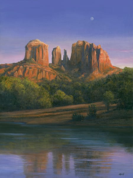 *Early Moon Over Cathedral Rock, Sedona Az* Art | Tarryl Fine Art