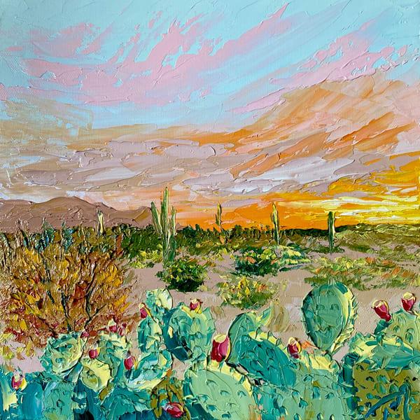Prickly Pear Parade   Original Oil Painting Art   Tessa Nicole Art