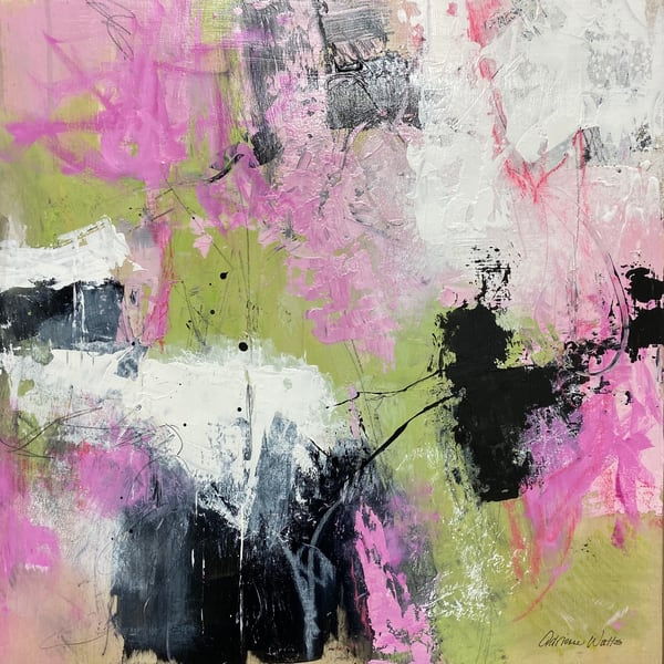 Le Printemps #2 is a green and pink original abstract painting by Adrienne Watts.