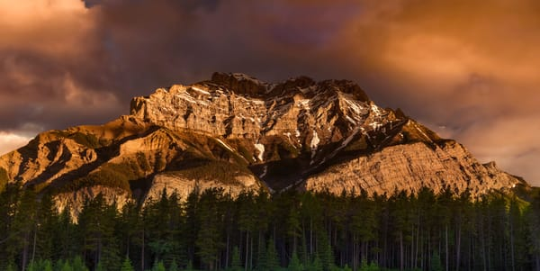 Cascade glowing outside of Banff. Banff National Park|Canadian Rockies|Rocky Mountains|