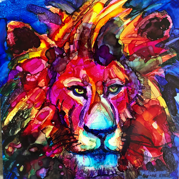 "High quality print of ""Miracles of the Majestic Ready to Roar 4 by Monique Sarkessian, alcohol ink painting."
