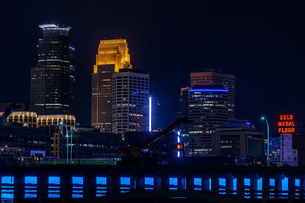 Minneapolis Skyline With A Teal 35 W Bridge For Pmdd Awareness Photography Art | William Drew Photography