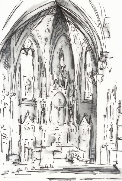St. Rose Perrysburg Church Interior Original Pen And Ink Drawing Art | Michelle Arnold Paine Fine Art