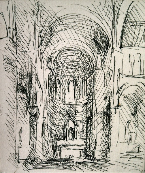 Interior Of St Mary Star Of The Sea Beverly Ink Drawing Art | Michelle Arnold Paine Fine Art