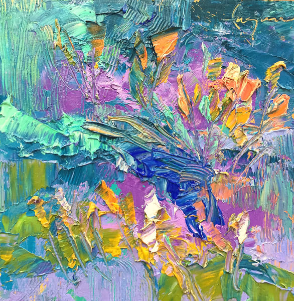 Rain Lily Wildflower Oil Painting by Dorothy Fagan