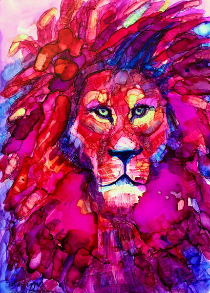 """""""Ready to Roar 11"""" lion painting by Monique Sarkessian, alcohol ink on panel, 7x5"""