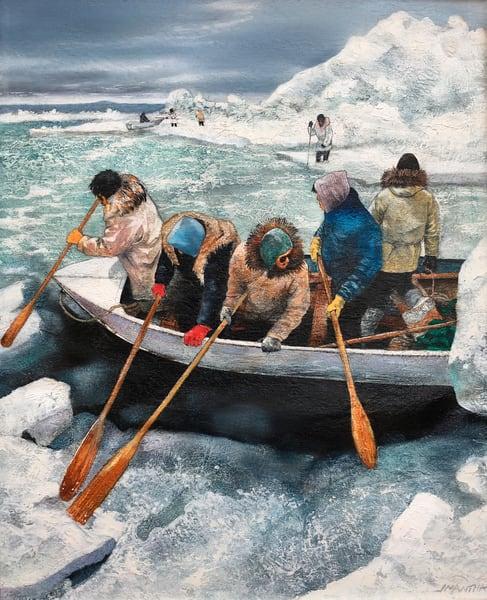 Inuit Men In Boat  Art | MANTHA DESIGN
