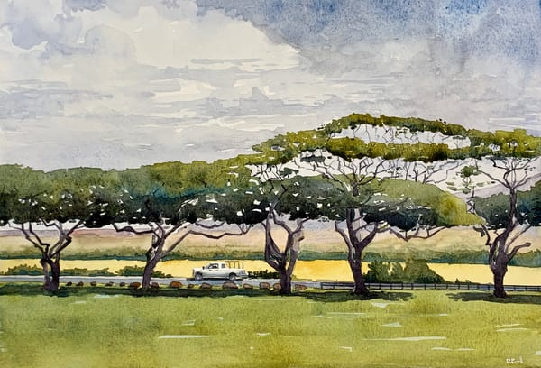 maui, watercolor, hawaii, art, tropical, plantation