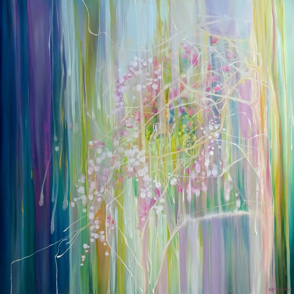 a semi abstract oil painting inspired by spring blossom and deer.