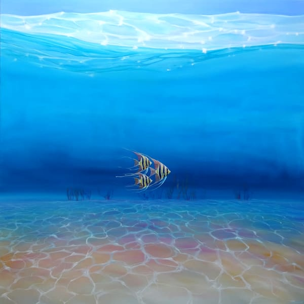 Escape to the Big Blue Sea is a large blue under the sea oil painting with three fish swimming in formation