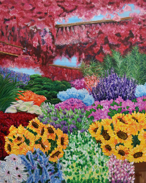 Flower Market in Amsterdam Art Painting - Flower Market - Netherlands - Original Painting - Fine Art Prints on Canvas, Paper Metal and More