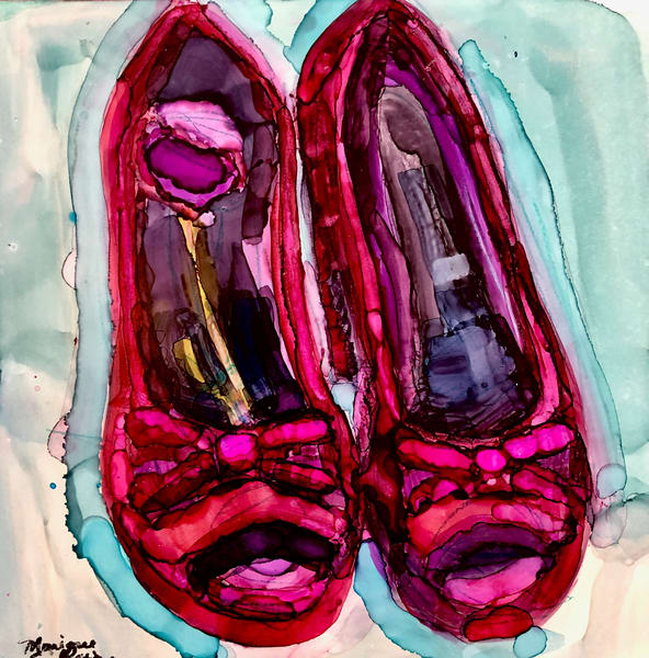 "Stunning expressionist painting ""Red Velvet Heels"" by Monique Sarkessian painted with alcohol inks 6x6"" on wood panel"