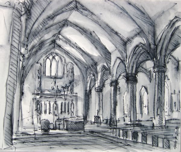 St. Thomas Aquinas Parish, Jamaica Plain 5x7 Original Drawing Art | Michelle Arnold Paine Fine Art