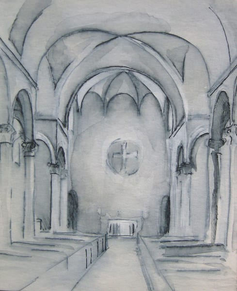 "St. Mary's Waltham Original Mixed Media Drawing 4.5"" X 5.25"" Art 