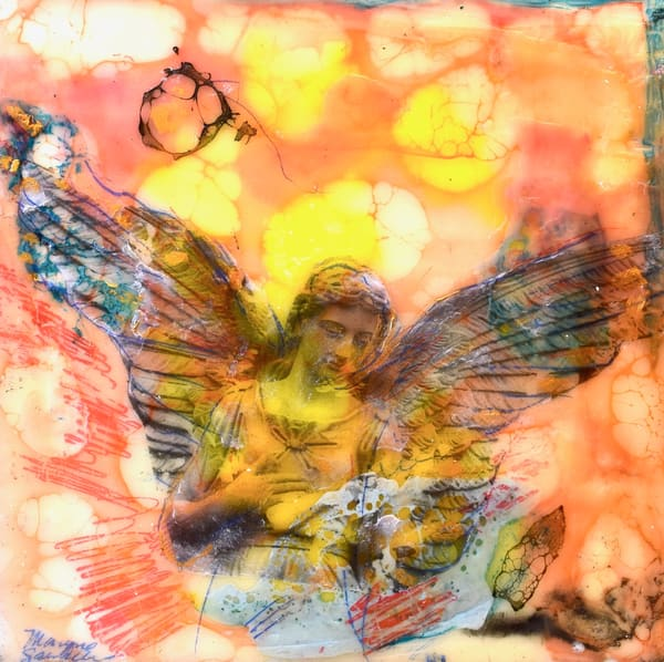 """High quality print of stunning """"Love Conquers 3"""" prophetic art by Monique Sarkessian, encaustic wax painting of a heavenly angel."""