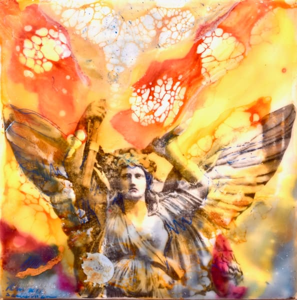 """High quality print  """"Love Conquers 1"""" prophetic art by Monique Sarkessian, encaustic wax painting of a heavenly angel."""