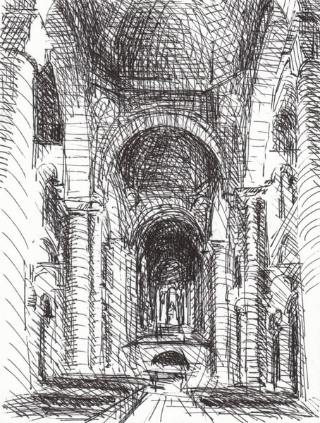 St. Hilaire Poitiers, France 2  Original  Drawing Matted To 8x10 Art | Michelle Arnold Paine Fine Art