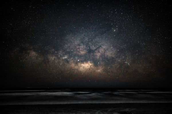 Standing on the beach at Port Aransas Texas looking at the Milky Way over the Gulf of Mexico