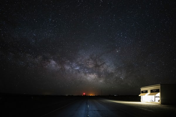A mock Prada Store beneath the Milky Way in deep Southern Texas
