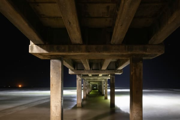 An very early photograph of the underside of the pier at  Port Aransas Texas