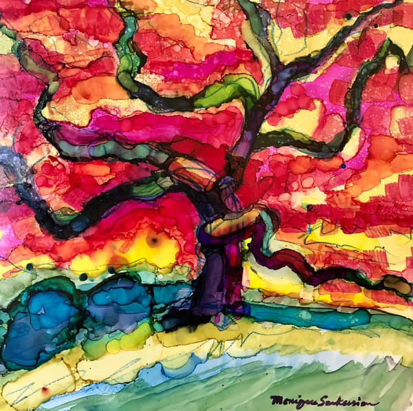 Beautiful expressionist alcohol ink landscape by Monique Sarkessian of her favorite Japanese maple tree at Winterthur Museum and Garden.