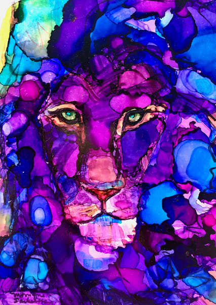 """Ready to Roar 10"" prophetic art  by Monique Sarkessian alcohol ink painting of the Lion of the tribe of Judah."