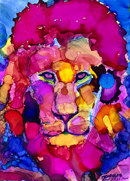 "High quality print of""Ready to Roar 8""  lion painting by Monique Sarkessian."