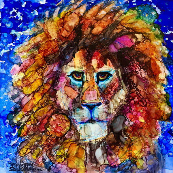 """Ready to Roar 12"" prophetic art  by Monique Sarkessian alcohol ink painting of the Lion of the tribe of Judah."