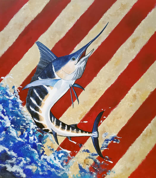 Striped Marlin Red, White 'n Blue Art | Alice MC