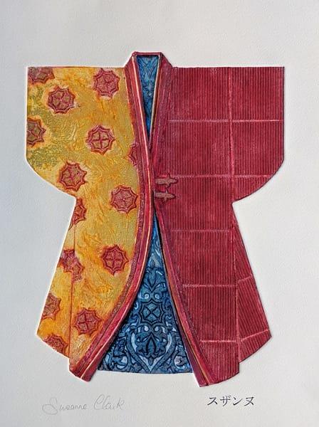 Kimono, kimonos, collagraph