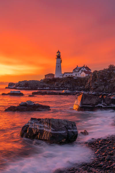 Icy Sunrise at Portland Head Light