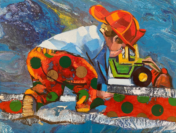 Playing Boy With Tractor In Blue Art | Bianca Berends