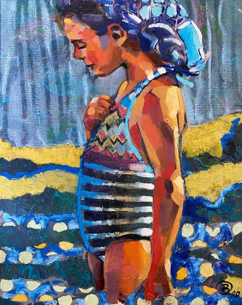 Blue Beach Girl With Fish Hair Art | Bianca Berends
