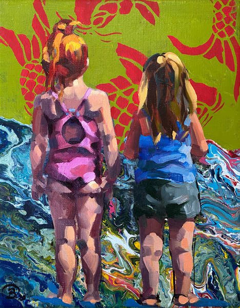 Beach Sisters With Fish Art | Bianca Berends