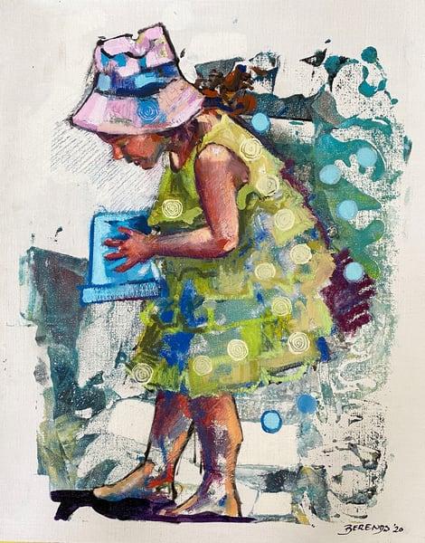 Girl In Green Beach Dress Art | Bianca Berends