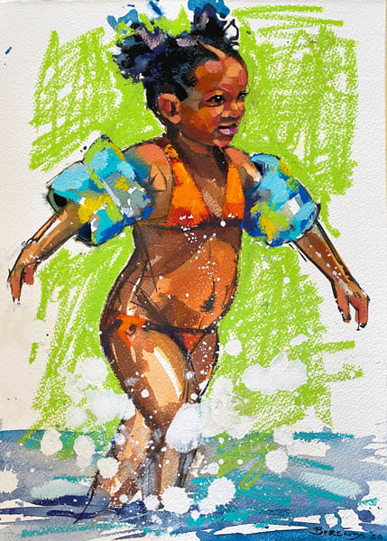 Caribbean Girl In Green Art | Bianca Berends