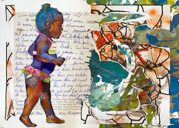 Purple Beach Girl Art | Bianca Berends