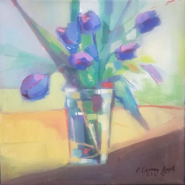 bunch of love, tulips, flowers, oiriginal oil painting, original artwork