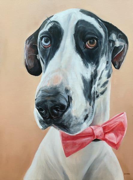 Great Dane Dog Portrait Original Oil Painting