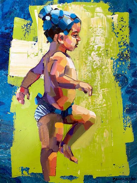 Beach Girl In Blue And Green Art | Bianca Berends